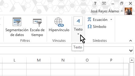 Botón de Texto en cómo insertar WordArt en Microsoft Excel