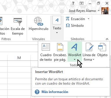 Botón WordArt en cómo insertar WordArt en Microsoft Excel
