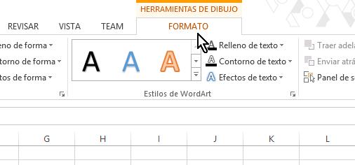 Pestaña FORMATO en cómo insertar WordArt en Microsoft Excel