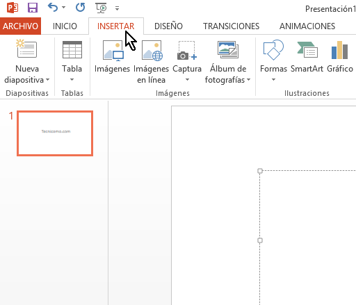 Botón de Insertar en cómo insertar WordArt en Microsoft PowerPoint