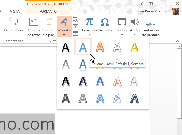 Botón de WordArt en cómo insertar WordArt en Microsoft PowerPoint