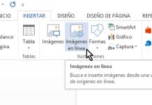 Botón para cómo insertar imágenes en Microsoft Word que se hallan en línea