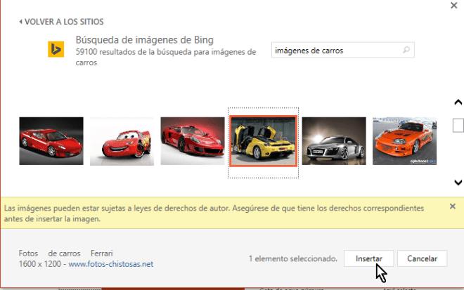 Botón para insertar imagen web en cómo insertar imágenes en PowerPoint