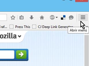 Botón del menú pricipal de Firefox en cómo instalar extensiones para Mozilla Firefox