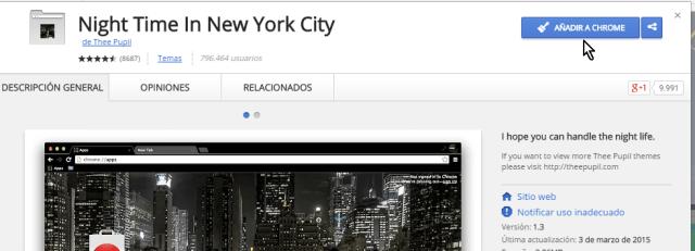 Botón para descargar e instalar en cómo instalar temas para Google Chrome