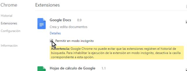 Mensaje de advetencia y privacidad  en cómo permitir extensiones de Chrome en modo incógnito