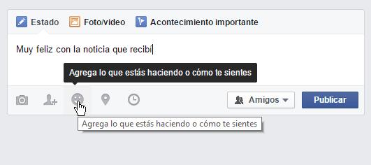 Botón para añadir caras en cómo poner caras para Facebook en tus estados