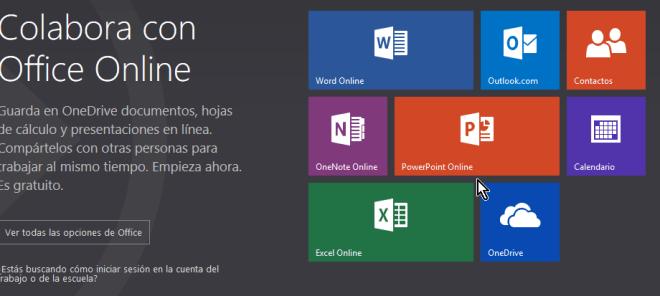 Página principal de Microsoft Office online
