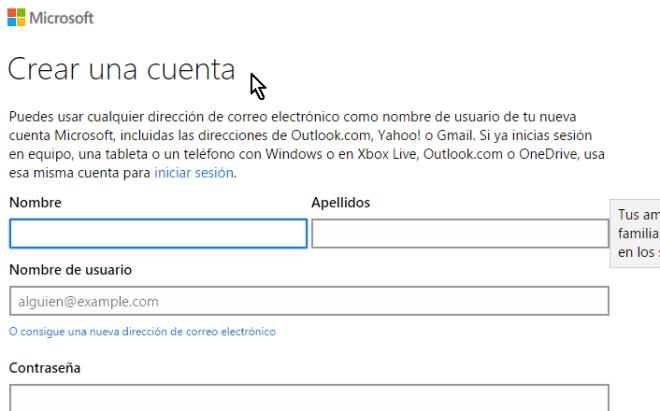 Página para entrar los datos y crear una cuenta para usar Microsoft PowerPoint online