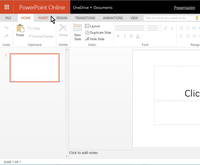 Página principal de app para crear presentación usando Microsoft PowerPoint online