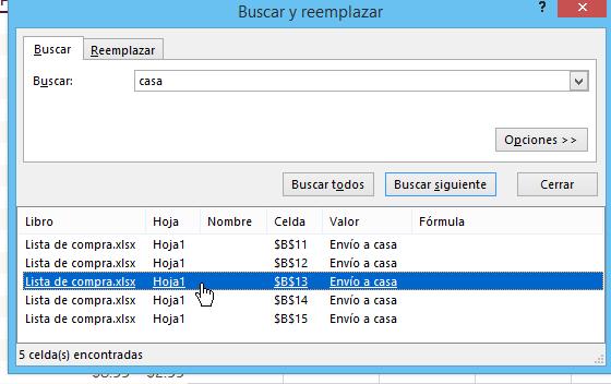 Botón Buscar todos para hallar todas las celdas con el texto en cómo buscar texto en Excel