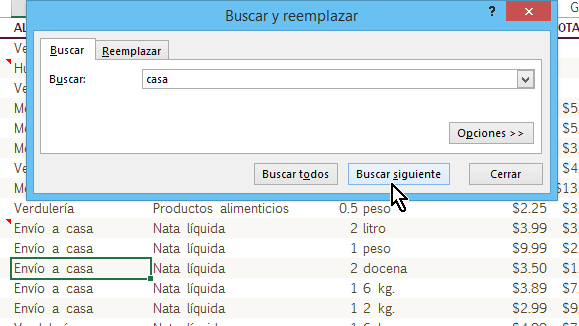 Botón Buscar siguientes para hallar la próxima celda con el dato en cómo buscar texto en Excel
