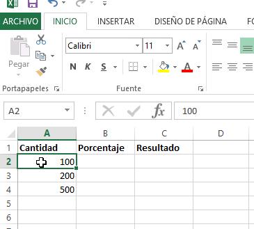 Ejemplo de varios datos para calcular porcentaje en cómo calcular porcentajes con Excel