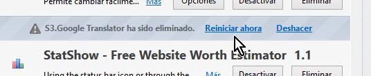 Opción para reiniciar el navegador luego de desinstalat extensión en cómo desinstalar extensiones de Firefox