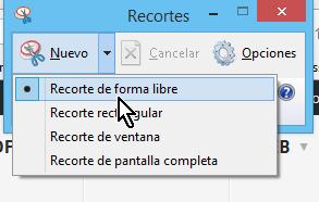 Opción de Recorte de forma libre en cómo hacer una captura de pantalla de forma libre