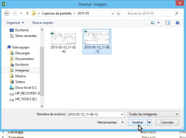 Explorador de archivos para buscar imagen en cómo insertar imágenes en Excel