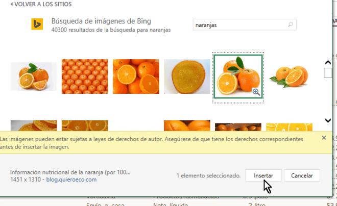 Botón para inserta la imagen de hallada Excel en línea en cómo insertar imágenes en Excel