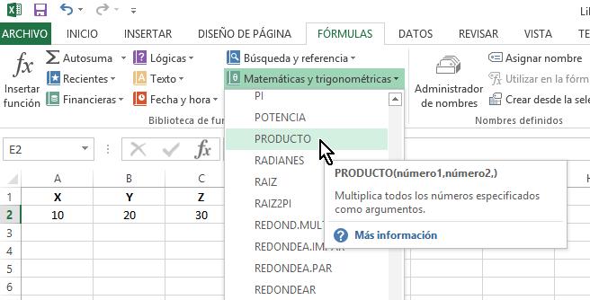 Función Producto en cómo multiplicar en Excel