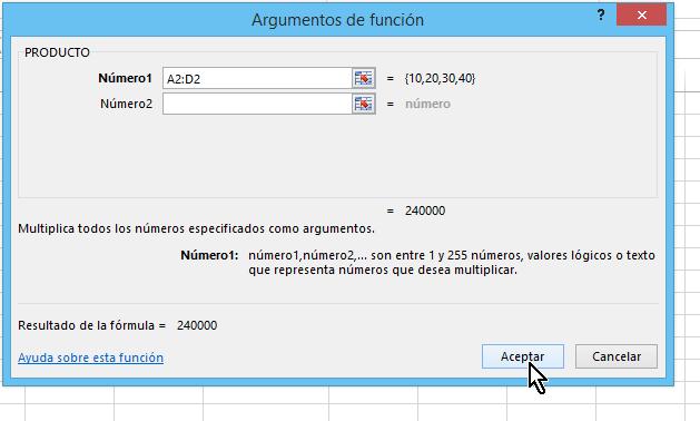 Botón Aceptar de la función Producto en cómo multiplicar en Excel