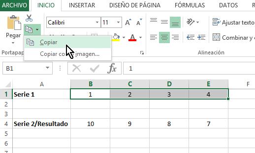 Botón Copiar en cómo multiplicar en Excel
