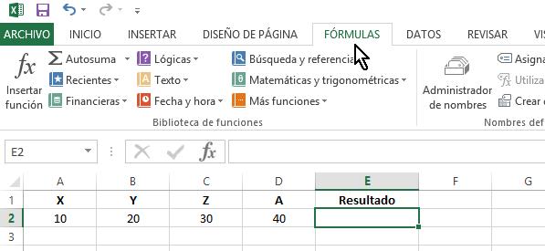 Pestaña FÓRMULAS en cómo multiplicar en Excel