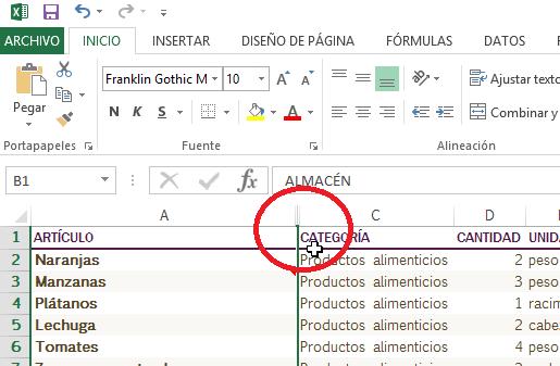 Indicativos de que la columna ha sido ocultada en cómo ocultar y mostrar columnas en Excel