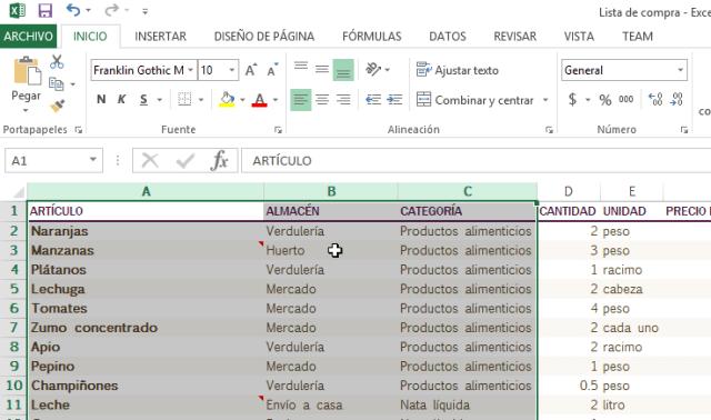 Columna mostrada debidamente en cómo ocultar y mostrar columnas en Excel