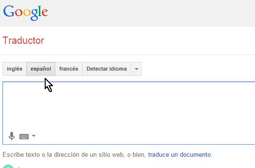 Botón para seleccionar como idioma fuente español en cómo traducir páginas web con el traductor de Google