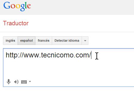 Caja de texto para entrar la página web en cómo traducir páginas web con el traductor de Google