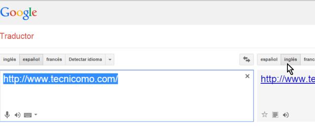 Botón para seleccionar inglés como idioma destino en cómo traducir páginas web con el traductor de Google