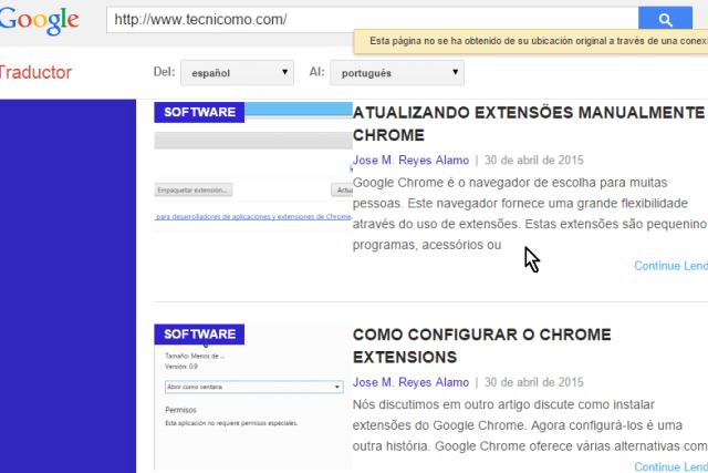 Página web traducida al portugués en cómo traducir páginas web con el traductor de Google