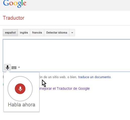 Indicador de activación del micrófono para hablarle en cómo usar el traductor de Google con voz