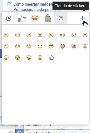 Botón de suma para acceder a la Tienda de stickers en cómo usar los stickers de Facebook