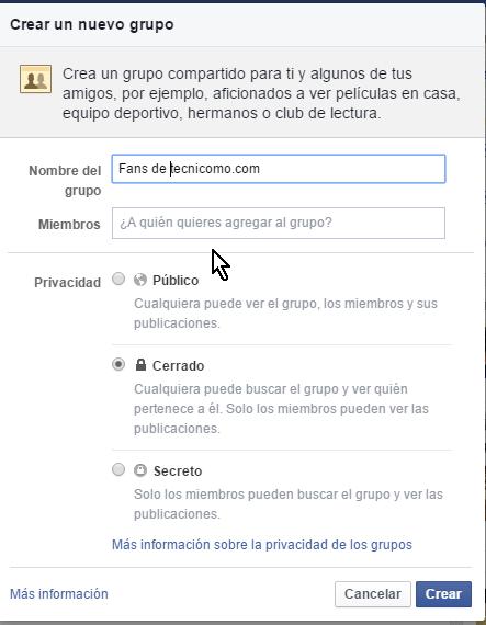 Pantalla para entrar los detalles del nuevo grupo en cómo crear un grupo privado en Facebook