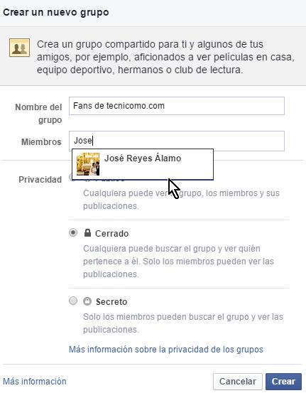 Opción para invitar nuevos miembros en cómo crear un grupo privado en Facebook