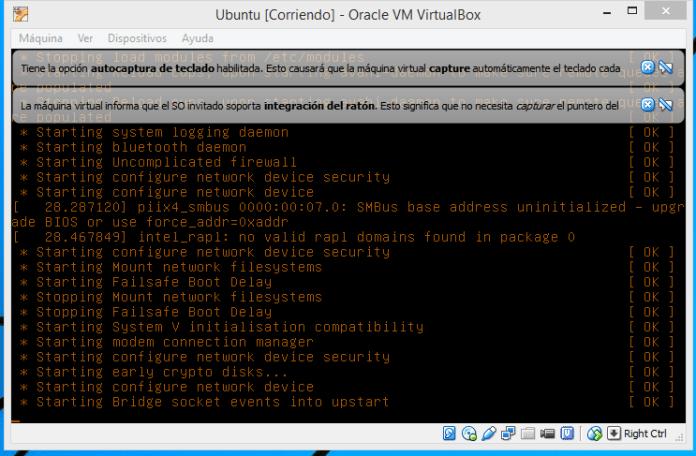 Muestra de mensajes de inicio de Ubuntu en cómo crear una máquina virtual de Ubuntu en VirtualBox