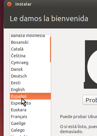 Selección de la instalación de Ubuntu en español en cómo crear una máquina virtual de Ubuntu en VirtualBox