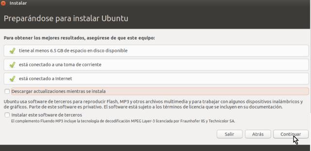 Pantalla para chequeos generales pre-instalación en cómo crear una máquina virtual de Ubuntu en VirtualBox