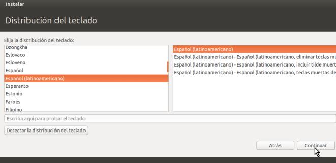 Selección del teclado en cómo crear una máquina virtual de Ubuntu en VirtualBox