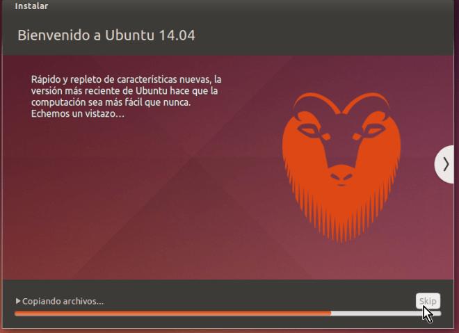 Barra muestra el avance de la instalación en cómo crear una máquina virtual de Ubuntu en VirtualBox