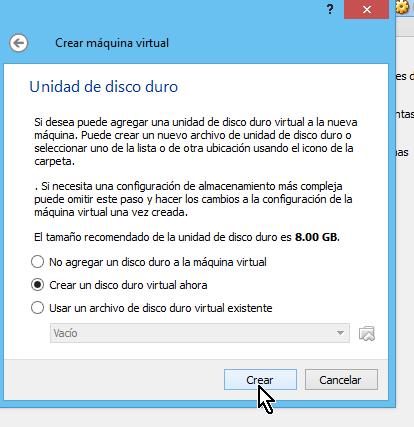 Botón para crear el disco curo virtual en cómo crear una máquina virtual de Ubuntu en VirtualBox
