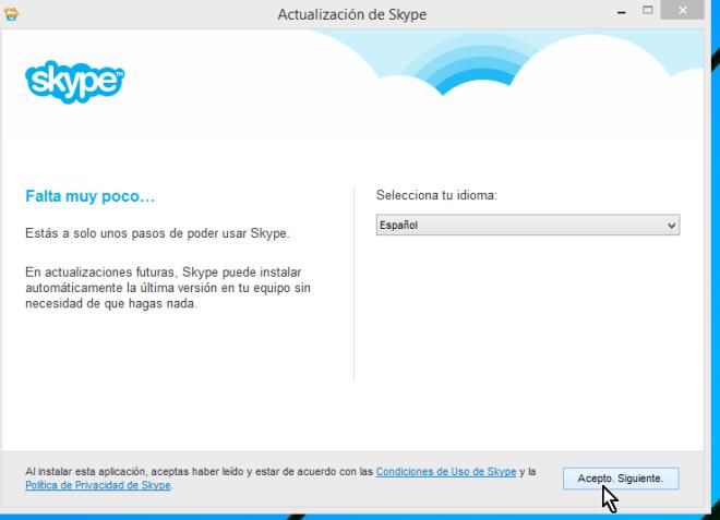Selección de idioma en instalación de Skype en cómo descargar e instalar Skype en Windows 8