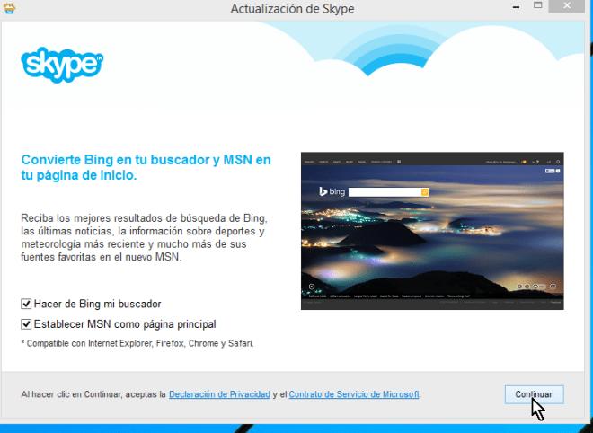 Opciones de Bing como buscador y MSN como página principal en cómo descargar e instalar Skype en Windows 8