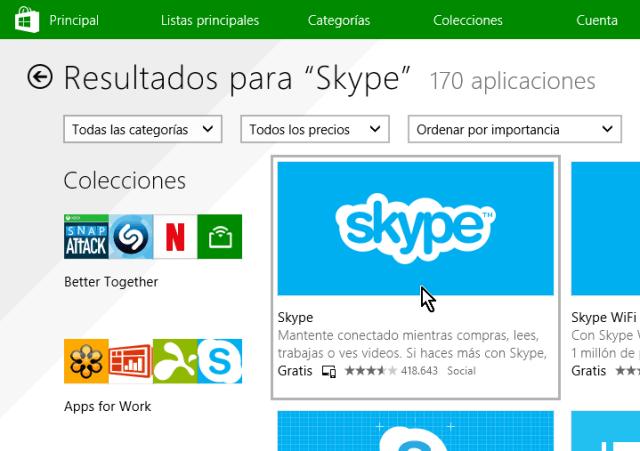 Seleccionando la aplicación Skype de la Tienda de Windows 8 en cómo descargar e instalar Skype en Windows 8