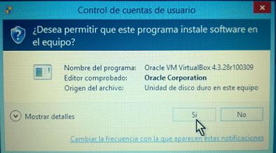 Botón para otorgar permiso de instalación a VirtualBox en cómo descargar e instalar VirtualBox en español