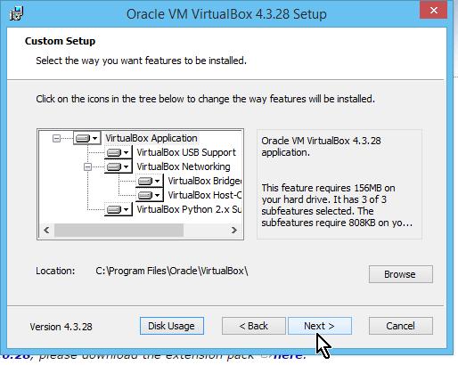 Pantalla de selección de opciones de instalación de VirtualBox en cómo descargar e instalar VirtualBox en español