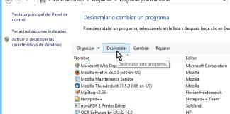 Botón Desinstalar en el Panel de control en cómo desinstalar un programa en Windows 8