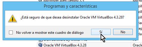 Ventana emergente para confirmar desistalación de programa en cómo desinstalar un programa en Windows 8