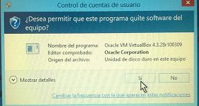 Ventana emergente para dar permiso para quitar software en cómo desinstalar un programa en Windows 8