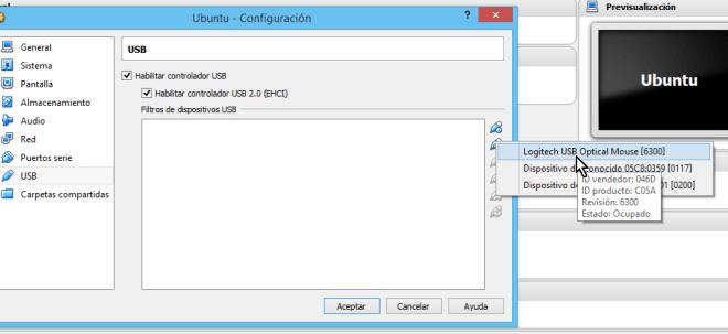 Lista con los dispositivos USB disponibles para seleccionar en cómo habilitar dispositivos USB en VirtualBox